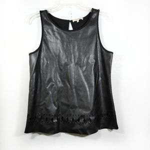 41 Hawthorn Black Faux Leather Top Sleeveless